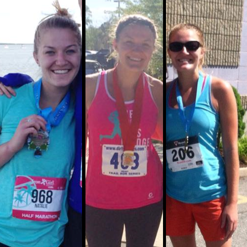 Photos of Natalie Shea at various running events over the years.